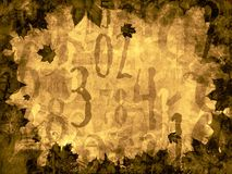 Autumn leaves time numbers vintage background Royalty Free Stock Images