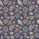 Autumn leaves vector seamless pattern. Botanic background in colors of blue and beige. Twilight hand drawn design texture in doodle style vector illustration