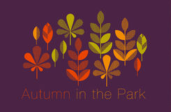 Autumn leaves vector illustration abstract. Full leaf header in geometry style royalty free illustration