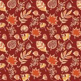 Autumn leaves vector seamless pattern. Botanic background in colors of orange, red and beige. Warm hand drawn design texture in doodle style stock illustration