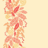 Autumn Leaves Vertical Seamless Pattern background. Vector Fall Leaves Vertical Seamless Pattern background ornament with various hand drawn foliage in warm vector illustration