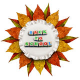 Autumn leaves vintage golden frame back to school concept Royalty Free Stock Images