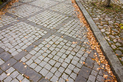 Autumn leaves on walkway in old museum district of Kouvola, Finland Stock Photos