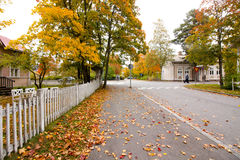 Autumn leaves on walkway in old museum district of Kouvola, Finland Royalty Free Stock Image