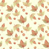 Autumn leaves 5. Watercolor floral background. Seamless  pattern Stock Image
