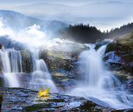 Autumn leaves at waterfall. Autumn leaves, that seems to flow with the waterfall, taken at long exposure time with fading mountains in the fog and with one leaf royalty free stock photography