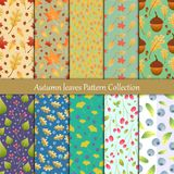 Autumn leaves and wild berry seamless pattern collection. Autumn leaves and wild berry seamless pattern background collection vector illustration