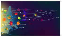 Autumn leaves in the wind. On a dark background Royalty Free Stock Photos