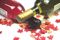 Autumn leaves and wine Stock Photography