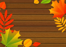 Autumn leaves on wooden Royalty Free Stock Images