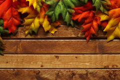 Autumn leaves on wooden stock image