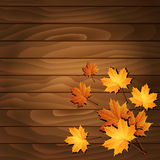 Autumn leaves on a wooden background. Vector Royalty Free Stock Photos