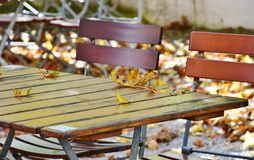 Autumn leaves on wooden table Stock Photography
