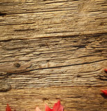 Autumn leaves on a wooden table. Stock Photo