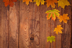 Autumn leaves on wooden table. Royalty Free Stock Photos
