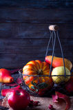 Autumn leaves on wooden table Stock Image
