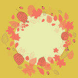 Autumn leaves wreath with rose hips. Vector illustration on yellow background. Hand drawn autumn leaves wreath with rose hips. Vector illustration on yellow stock illustration