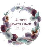 Autumn leaves wreath Vector watercolor. Round leaf frame decoration templates royalty free illustration