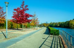 Autumn leisure - walk in the park. Colorful Urban Scene. Use for Europe Travel Marketing Royalty Free Stock Photography