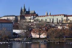 Autumn Lesser Town of Prague with gothic Castle above River Vltava, Czech Republic Stock Photography