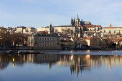 Autumn Lesser Town of Prague with gothic Castle above River Vltava, Czech Republic Royalty Free Stock Photo