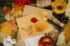 Autumn letter with ancient stamp. Bird stamp, pine, leaves of maple and handmade candle royalty free stock image