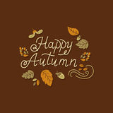 Autumn lettering design. Vector autumn greeting card with autumn leaves and monoline lettering on dark background. Perfect for autumn holidays, Thanksgiving Day Stock Illustration