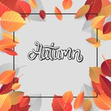 Autumn Lettering. Hand Written Typography on White Background. Vector Illustration for Your Design. royalty free stock images