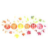 Autumn. Lettering with motley leaves. Watercolor imitation. Autumn. Lettering with motley leaves isolated on white background. Watercolor imitation in vector Stock Images