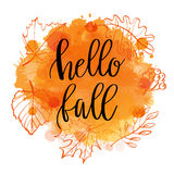 Autumn lettering phrase on Watercolor imitation background, water color splash, orange texture, isolated on white. Vector illustra. Autumn lettering phrase Hello Royalty Free Stock Photography