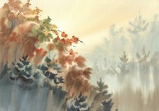 Free Autumn Light In The Forest Watercolor Landscape Stock Photo - 128431790