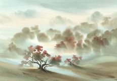 Free Autumn Light In The Forest Watercolor Landscape Stock Images - 128942814