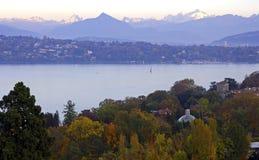 Autumn light by the lake. View across Lake Geneva to Mt. Mont Blanc Geneva Switzerland Stock Photography