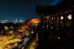 Autumn light up in Kiyomizu-dera, Kyoto. Light up of autumn foliage colors surrounding large veranda & x28;Kiyomizu stage& x29;, at Kiyomizu-dera temple, Kyoto Stock Photography