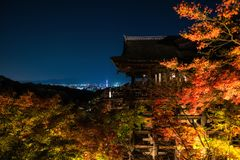 Autumn light up at Kiyomizu temple, Kyoto. Light up aun foliage colors with large wooden veranda Kiyomizu building at Kiyomizu-dera temple, Kyoto, Japan. Famous royalty free stock photography