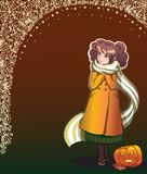 Autumn lights background with girl Royalty Free Stock Photo