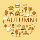 Autumn Line Art Thin Icons ha messo con l'ombrello Fotografie Stock