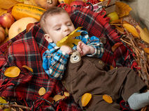 Autumn little boy lie on plaid blanket, yellow fall leaves, apples, pumpkin and decoration on textile Royalty Free Stock Photo