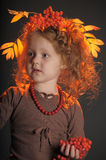 Autumn little red-haired princess Stock Photos