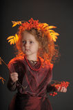 Autumn little red-haired princess Royalty Free Stock Photography