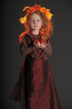 Autumn little red-haired princess Stock Photography
