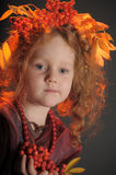 Autumn little red-haired princess Royalty Free Stock Photo