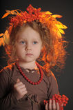 Autumn little red-haired princess Royalty Free Stock Image