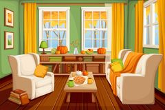 Autumn living room interior. Vector illustration. Vector cozy autumn living room interior stock illustration