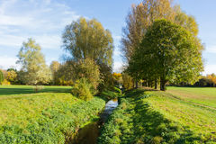 Autumn in a local park with a little stream. UK Stock Images