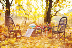 Autumn location, autumn decor. Rocking chairs Stock Images