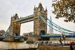 Autumn London Bridge pier. London bridge view from river royalty free stock images