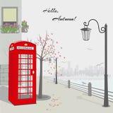 Autumn in London vector illustration