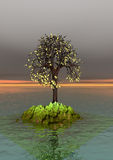Autumn, lonely tree. 3 d graphics fantasy landscape with lonely tree , autumn season, flood Royalty Free Stock Photography