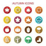 Autumn long shadow icons Stock Image